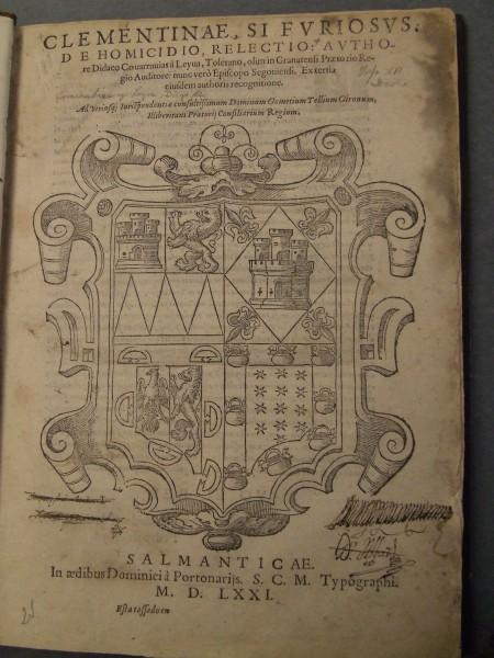 Title page of Clementinae, si furiosus, de homicidio, relectio, 1571