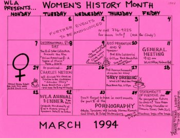 Harvard Law School Women's History Month calendar, March 1994, HLS Ephemera Collection, box 4, folder 6
