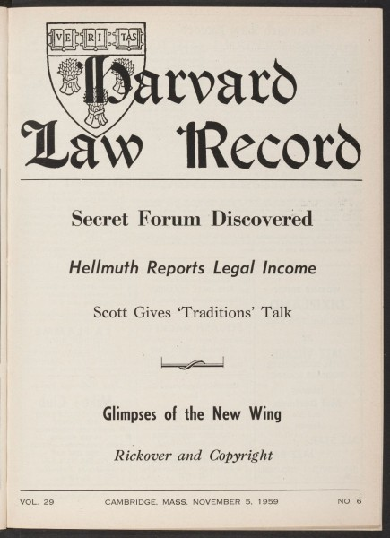 The front page of the November 5, 1959 issue (volume 20, no. 6). HOLLIS 116790.