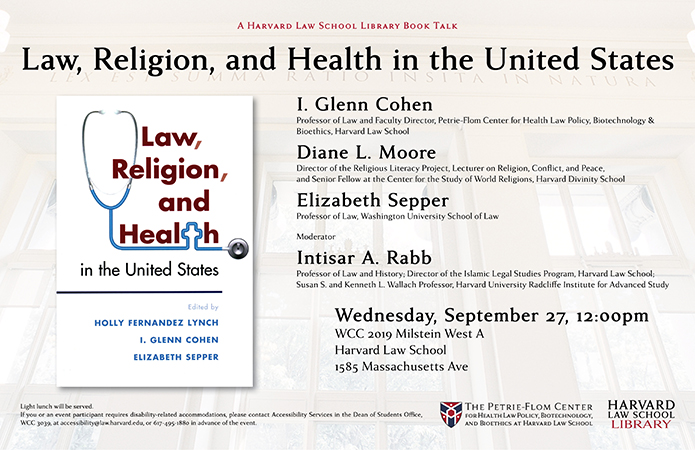 Poster for Law, Religion, and Health book talk